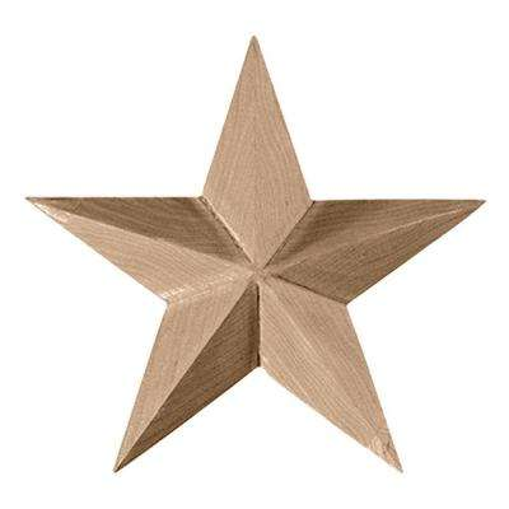 5 in. x 3/4 in. x 5 in. Unfinished Wood Rubberwood Galveston Star Rosette
