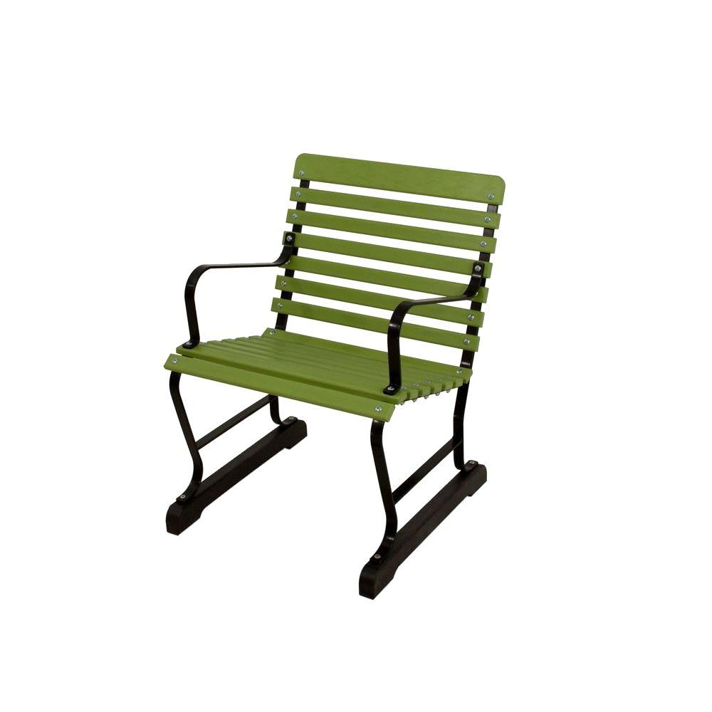 Ivy Terrace 22 in. Black and Lime Patio Arm Chair