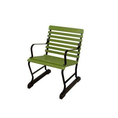 22 in. Black and Lime Patio Arm Chair