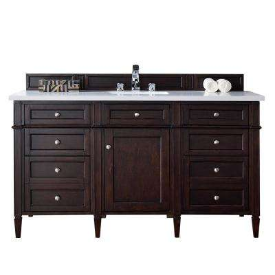 Brittany 60 in. W Single Vanity in Burnished Mahogany with Quartz Vanity Top in White with White Basin