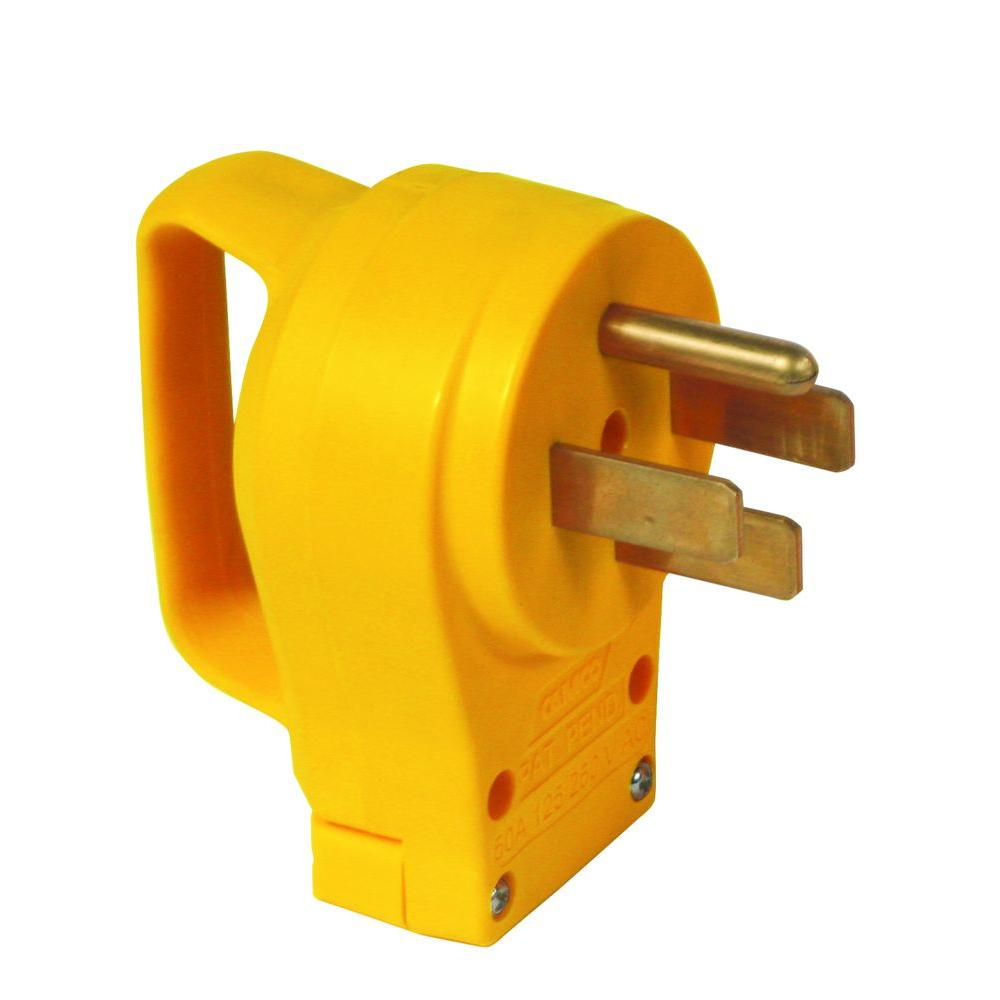 Camco 50 Amp Power Grip Replacement Male Plug 55255 The Home Depot Extension Cord Terminal