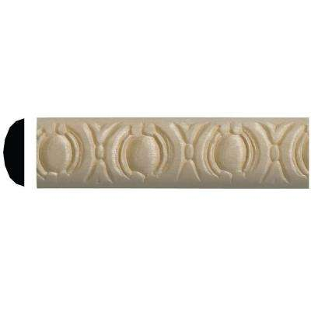 9/32 in. x 7/8 in. x 96 in. White Hardwood Rondelle Embossed Moulding