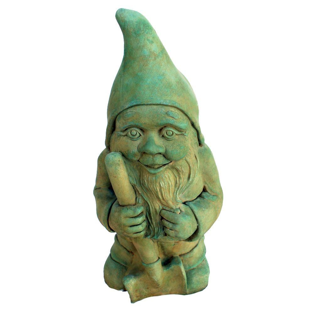 Cast Stone Garden Gnome Statue   Weathered Bronze GNGGN WB   The Home Depot