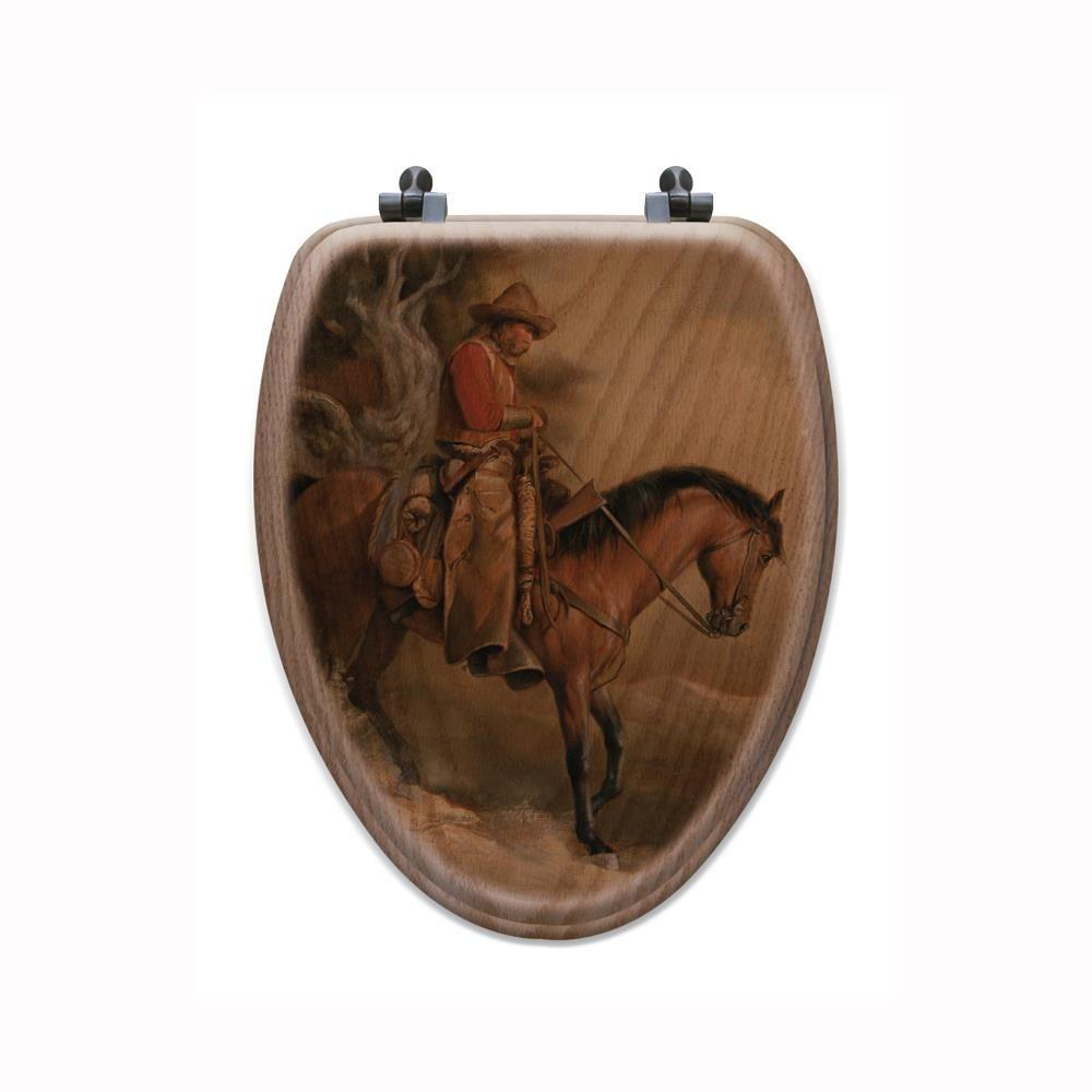 Long Road Home Elongated Closed Front Wood Toilet Seat In