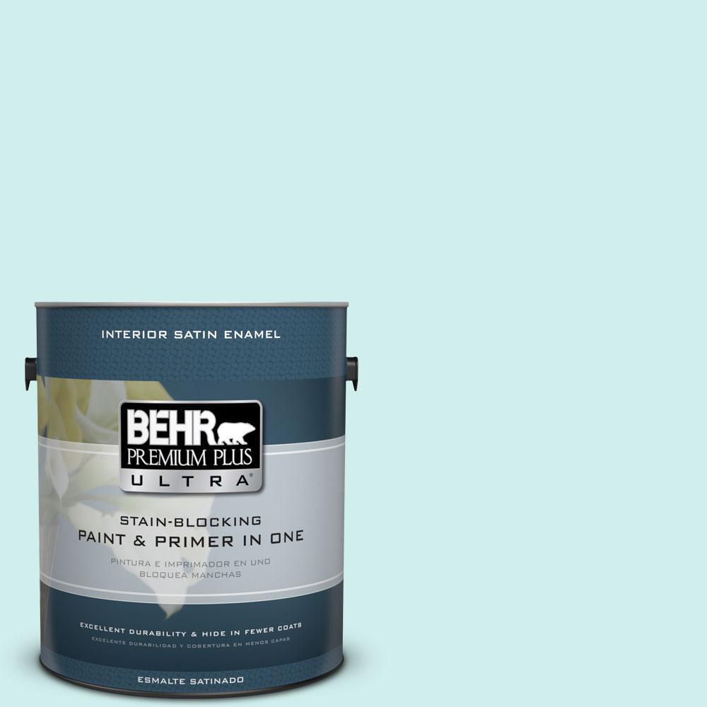 BEHR Premium Plus Ultra 1-gal. #490A-1 Teal Ice Satin Enamel Interior Paint