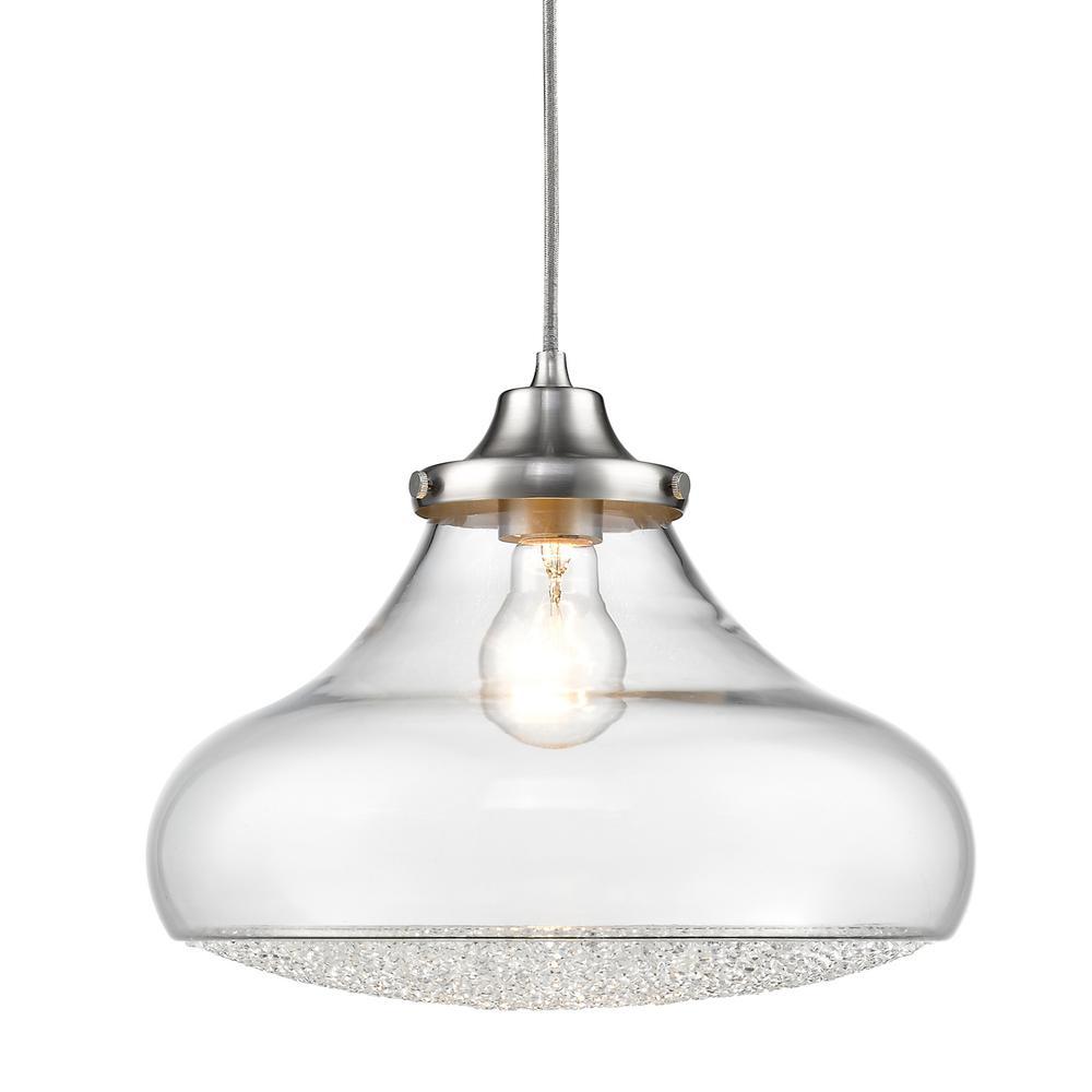 Golden Lighting Asha 1-Light Pewter Pendant Light-3417-L