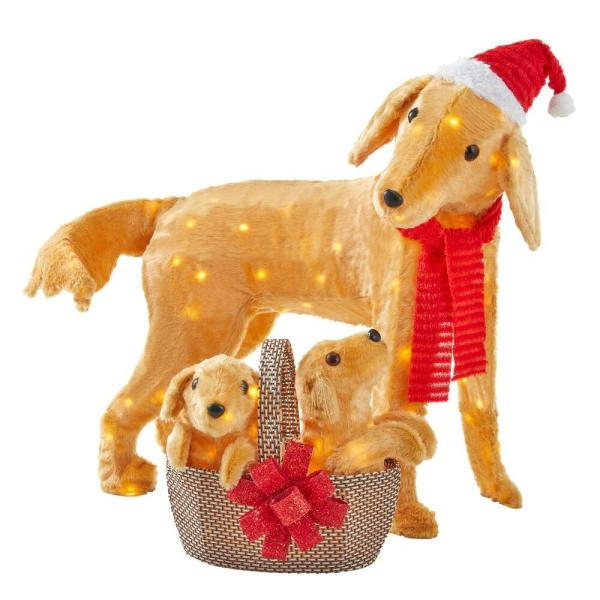 Home Accents Holiday 2-Piece Adorable Dogs LED Golden Retriever with Basket of Puppies   The Home Depot