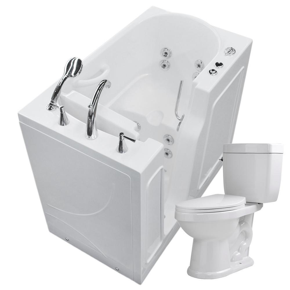 Nova Heated 45.75 in. Walk-In Whirlpool Bathtub in White with 1.6 GPF Single Flush Toilet