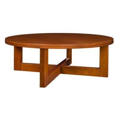 Chloe 37 in. Cherry Round Coffee Table