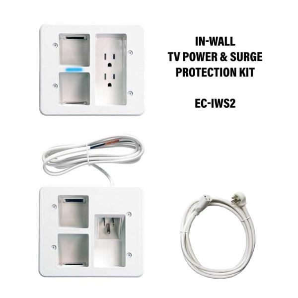Flat Panel TV Surge Protected Power Relocation Organizer Kit