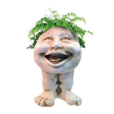 12 in. Antique White Aunt Minnie the Muggly Statue Face Planter Holds 4 in. Pot