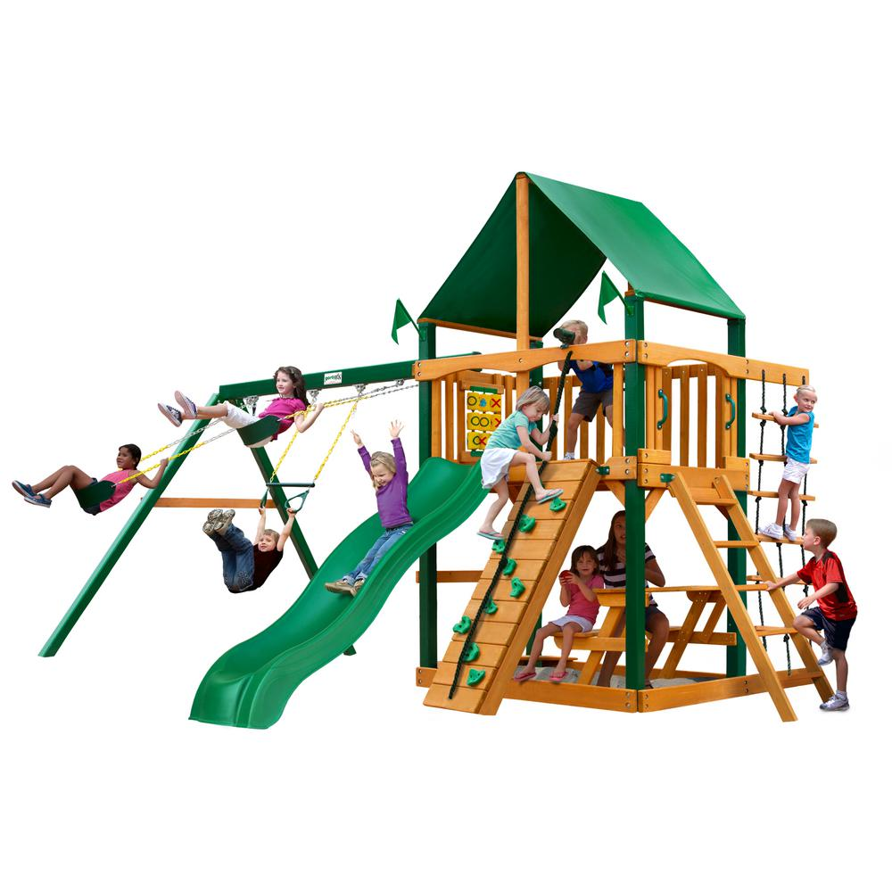 Gorilla Playsets Chateau Wooden Swing Set with Green Vinyl Canopy, Timber Shield Posts and Alpine Wave Slide