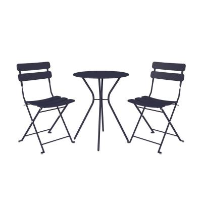 3-Piece Steel Outdoor Patio Bistro Set in Navy