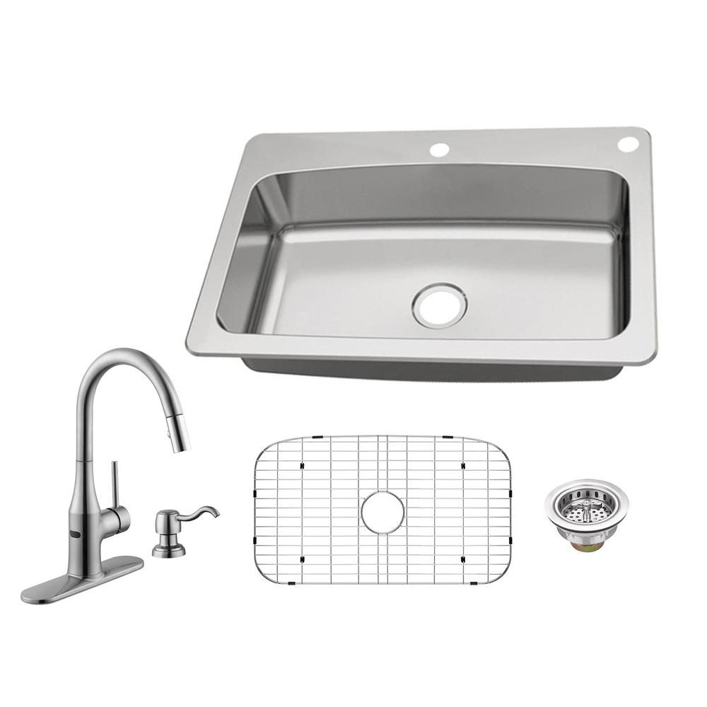 Glacier Bay All In One Dual Mount 18 Gauge Stainless Steel 33 In 2
