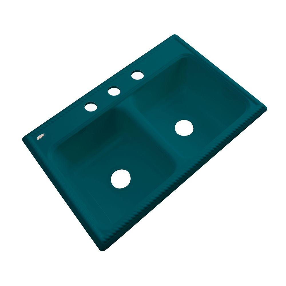 Thermocast Seabrook Drop-In Acrylic 33 in. 3-Hole Double Basin Kitchen Sink in Teal