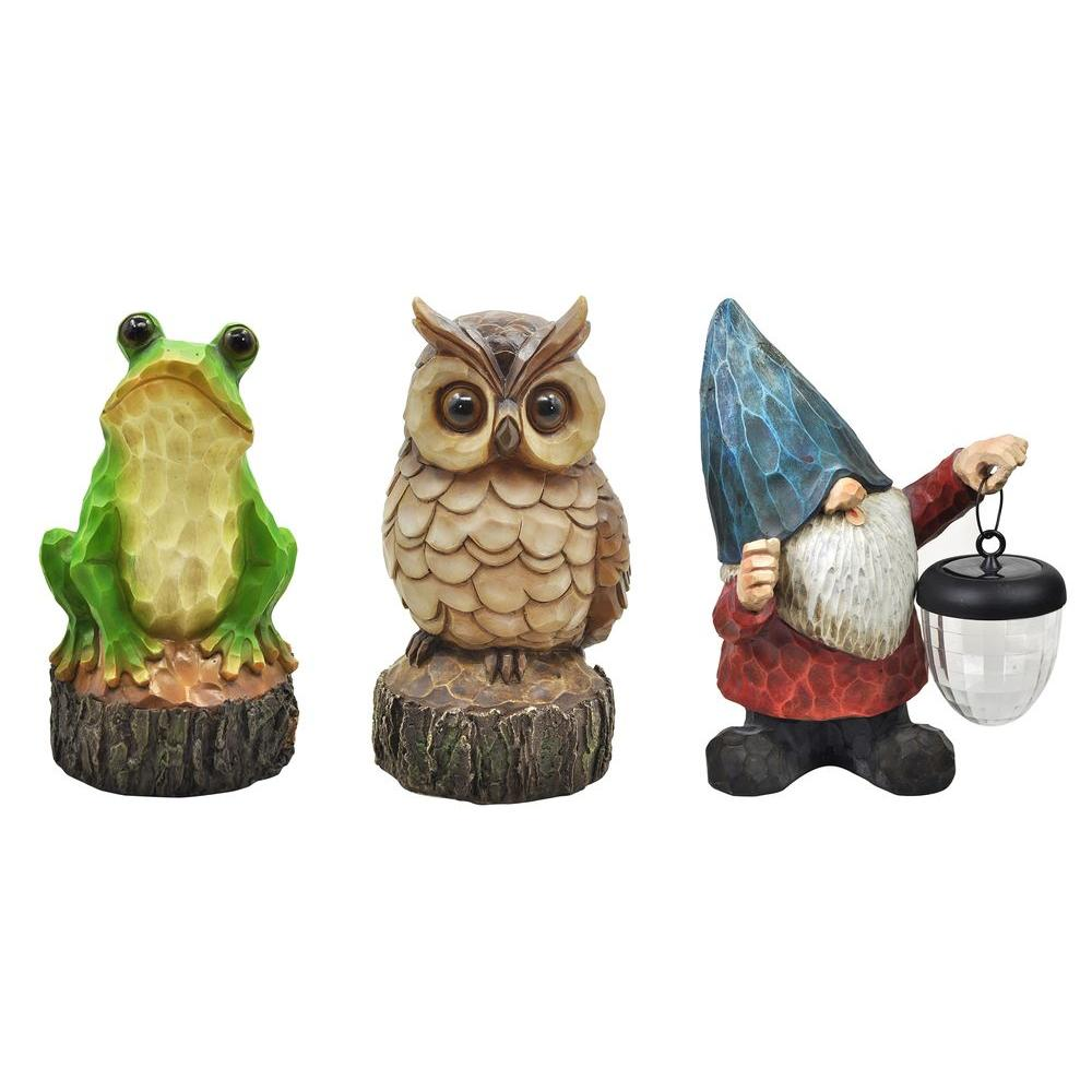 Outdoor Polyresin Solar Powered LED Amber Friends Woodcut