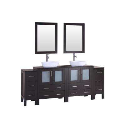 84 in. W Double Bath Vanity in Espresso with  Glass Vanity Top with White Basin, Polished Chrome Faucet and Mirror