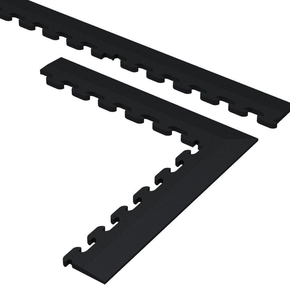 9.5 in. x 18.5 in. Black Multi-Purpose Commercial PVC Garage Flooring Tile Trim Kit (20 sq. ft.)