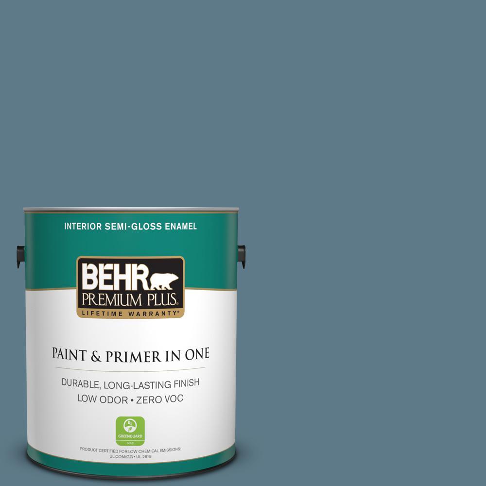 BEHR Premium Plus 1-gal. #PMD-65 Ocean Shadow Zero VOC Semi-Gloss Enamel Interior Paint