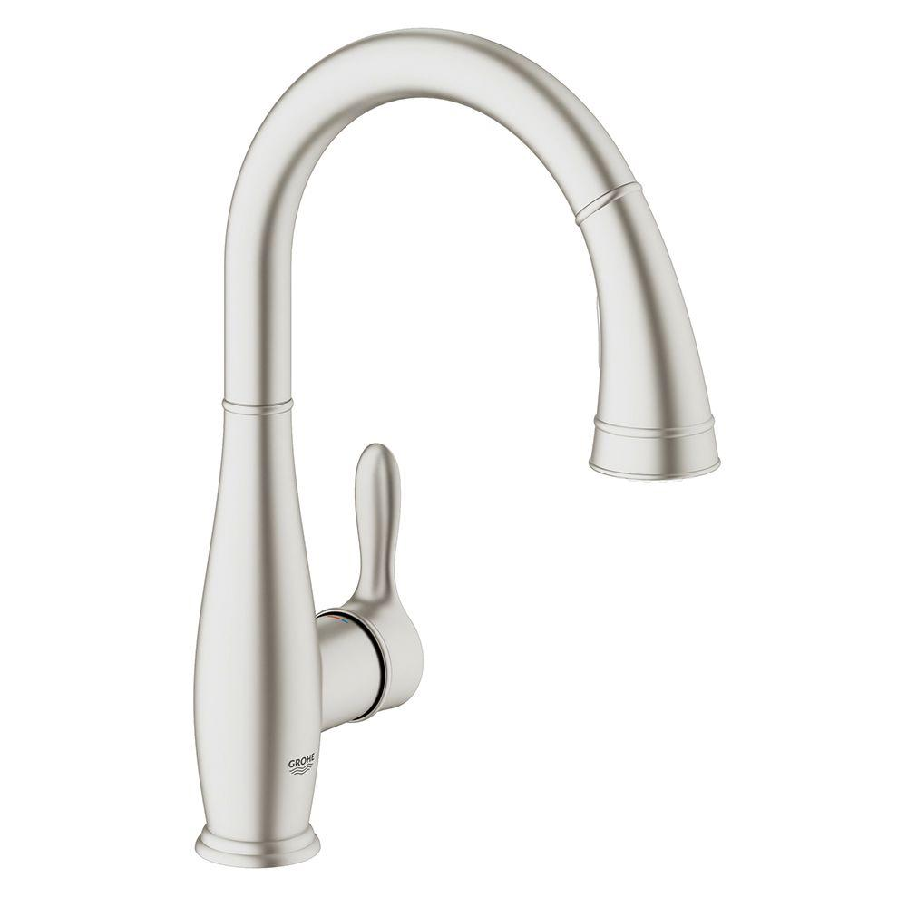 Awesome GROHE Parkfield Single Handle Pull Down Sprayer Kitchen Faucet With Dual  Spray In SuperSteel InfinityFinish 30213DC0   The Home Depot