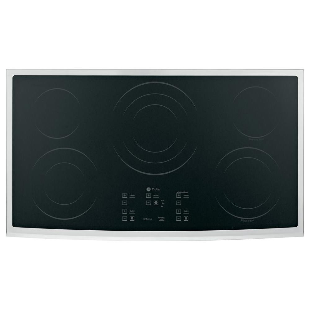 GE Profile CleanDesign 36 in. Smooth Surface Radiant Electric Cooktop in Stainless Steel with 5 Elements
