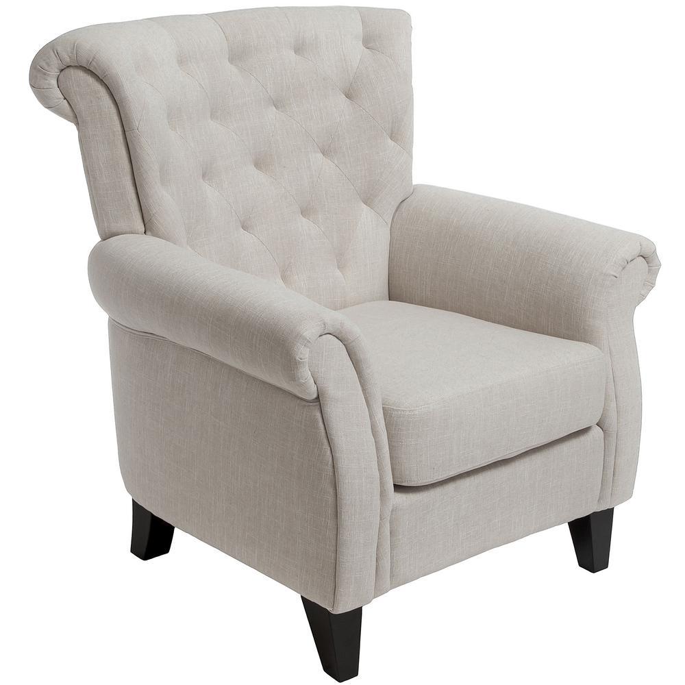 Greggory Light Beige Fabric Tufted Club Chair