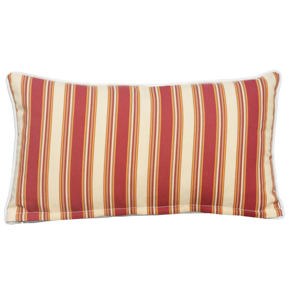 DIRECT WICKER Canvas 21 in. x 12 in. Red Strip Outdoor Bolster Throw Pillow