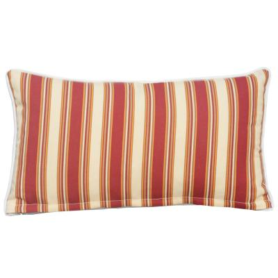 Canvas 21 in. x 12 in. Red Strip Outdoor Bolster Throw Pillow