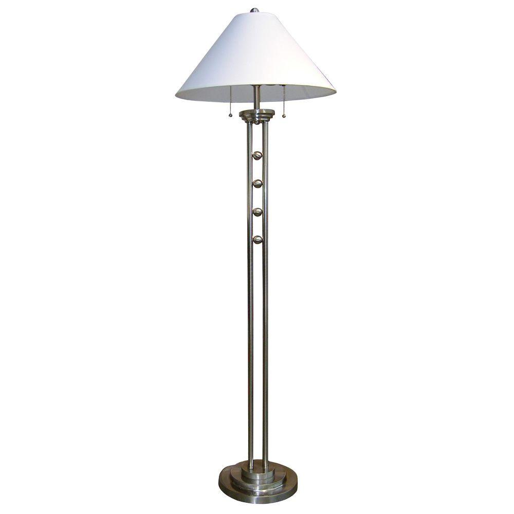 ORE International 63 In. Metal Silvertone Floor Lamp