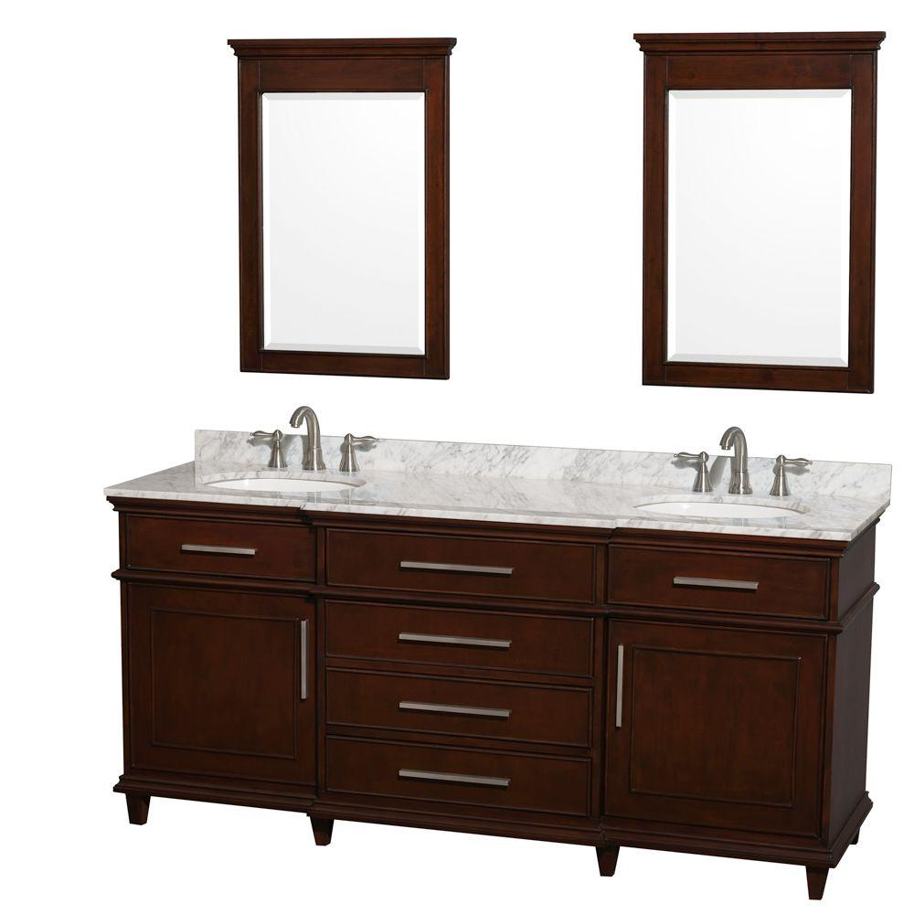 Berkeley 72 in. Double Vanity in Dark Chestnut with Marble Vanity