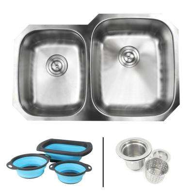 Undermount 16-Gauge Stainless Steel 32 in. 40/60 Double Bowl Kitchen Sink in Satin Pearl Finish with Silicone Colanders