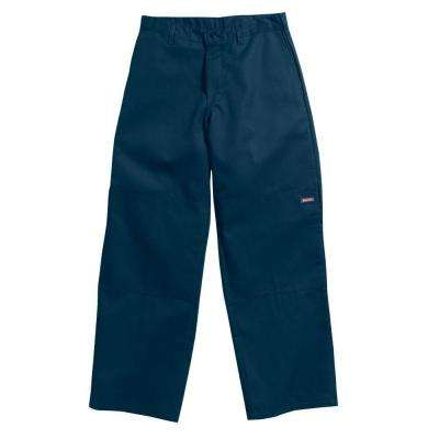 Loose Fit 42 in. x 32 in. Polyester Double Knee Multi-Use Pocket Pant Dark Navy