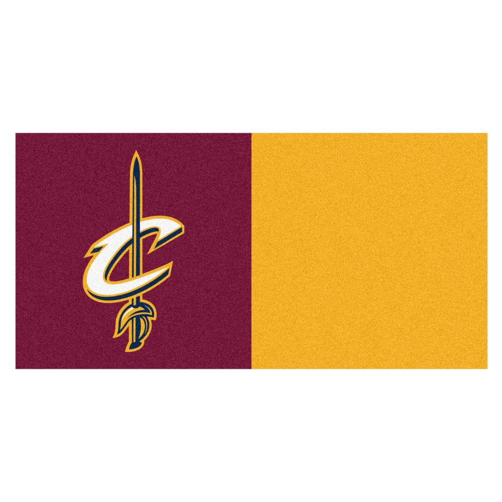 FANMATS NBA Cleveland Cavaliers Blue and Yellow Pattern 18 in. x 18 in. Carpet Tile (20 Tiles/Case)