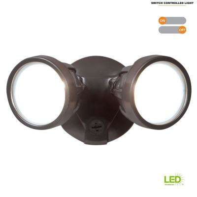 Twin-Head Bronze Outdoor Round LED Flood Light