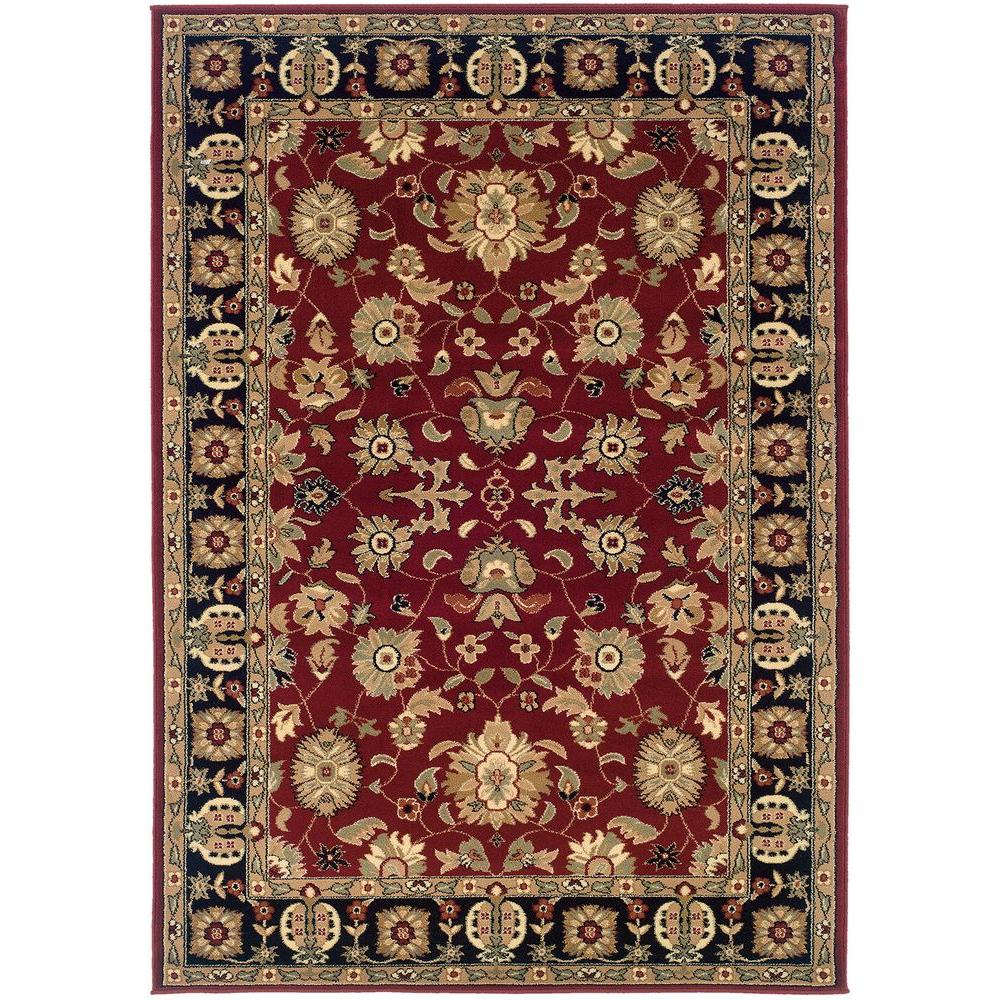 LR Resources Traditional Red and Black Rectangle 7 ft. 9 in. x 9 ft. 9 in. Plush Indoor Area Rug