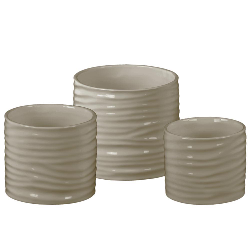 Taupe Gloss Finish Ceramic Decorative Vase (Set of 3)