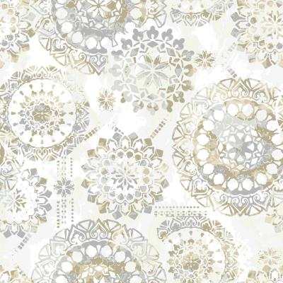 Peel-and-Stick Removable Wallpaper Boho Lace Doodle Bohemian White Grey Canvas