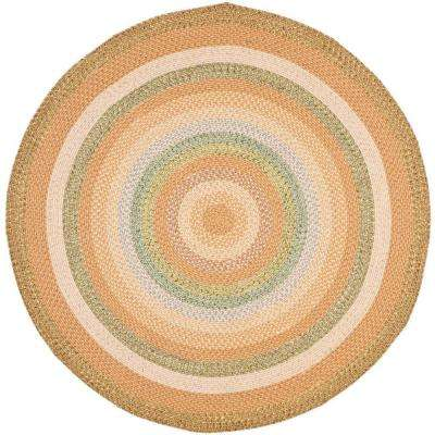 Braided Tan/Multi 6 ft. x 6 ft. Round Area Rug