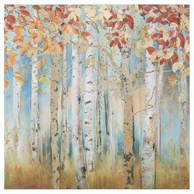 "40 in. x 40 in. ""Birch Beauties I"" Printed Canvas Wall Art"