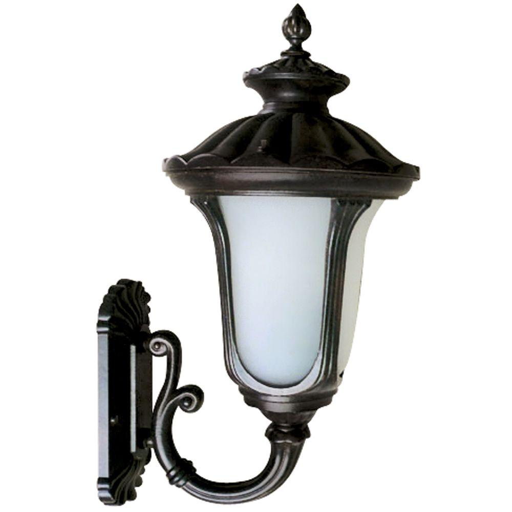 Yosemite Home Decor Tori Collection 1-Light Black Outdoor Wall-Mount Lamp