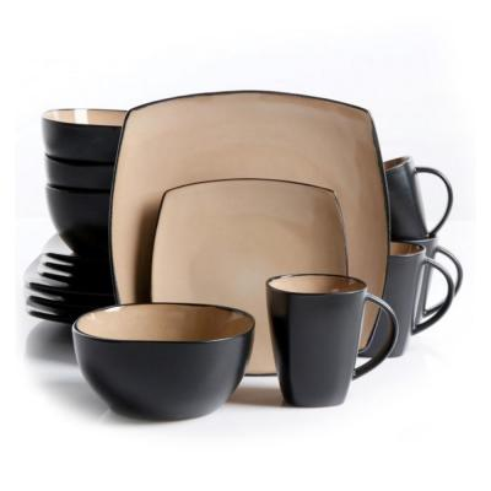 Soho Lounge 16-Piece Black and Taupe Square Stoneware Dinnerware Set
