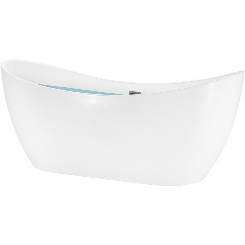 AKDY 59 in. Acrylic Center Drain Oval Double Slipper Flatbottom Freestanding Bathtub in Glossy White was $984.29 now $649.99 (34.0% off)