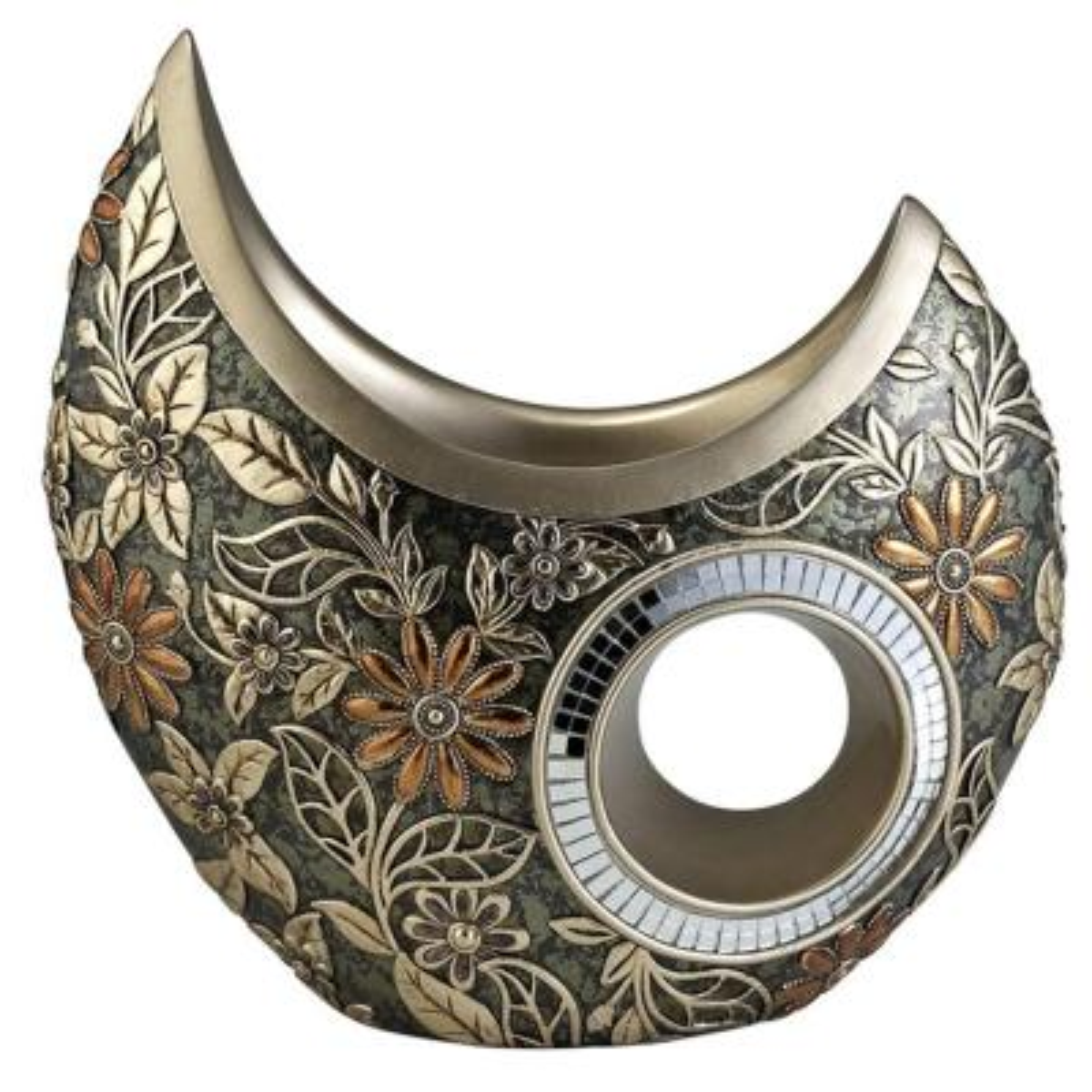 11 in. W x 11.5 in. H Polyresin Chrysanthemum Decorative Vase in Bronze
