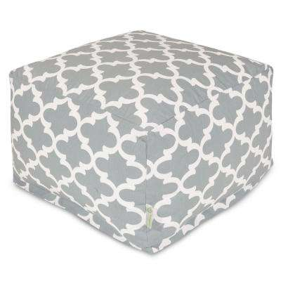 Gray Trellis Indoor/Outdoor Ottoman Cushion