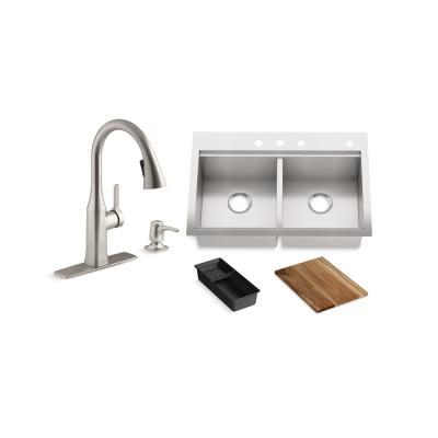 Lyric Workstation 33 in. Dual Mount Stainless Steel Double Bowl Kitchen Sink with Rubicon Kitchen Faucet