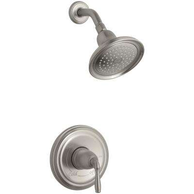 Devonshire 1-Spray 7 in. 2.0 GPM Fixed Shower Head with Lever Handle in Brushed Nickel