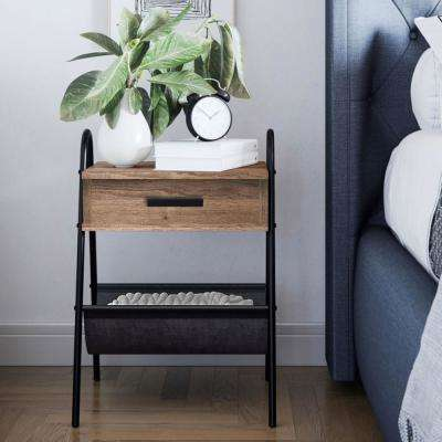 Hugo 25 in. Rustic Oak Night Stand Accent Table Metal Frame with Drawer and Leather Hammock