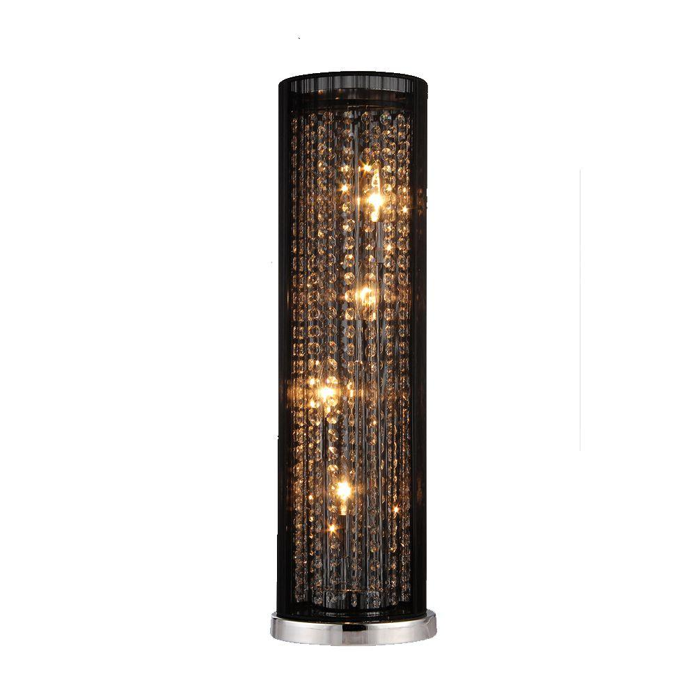 Chrome Indoor Table Lamp With Black Fabric Strings And Crystal Shade