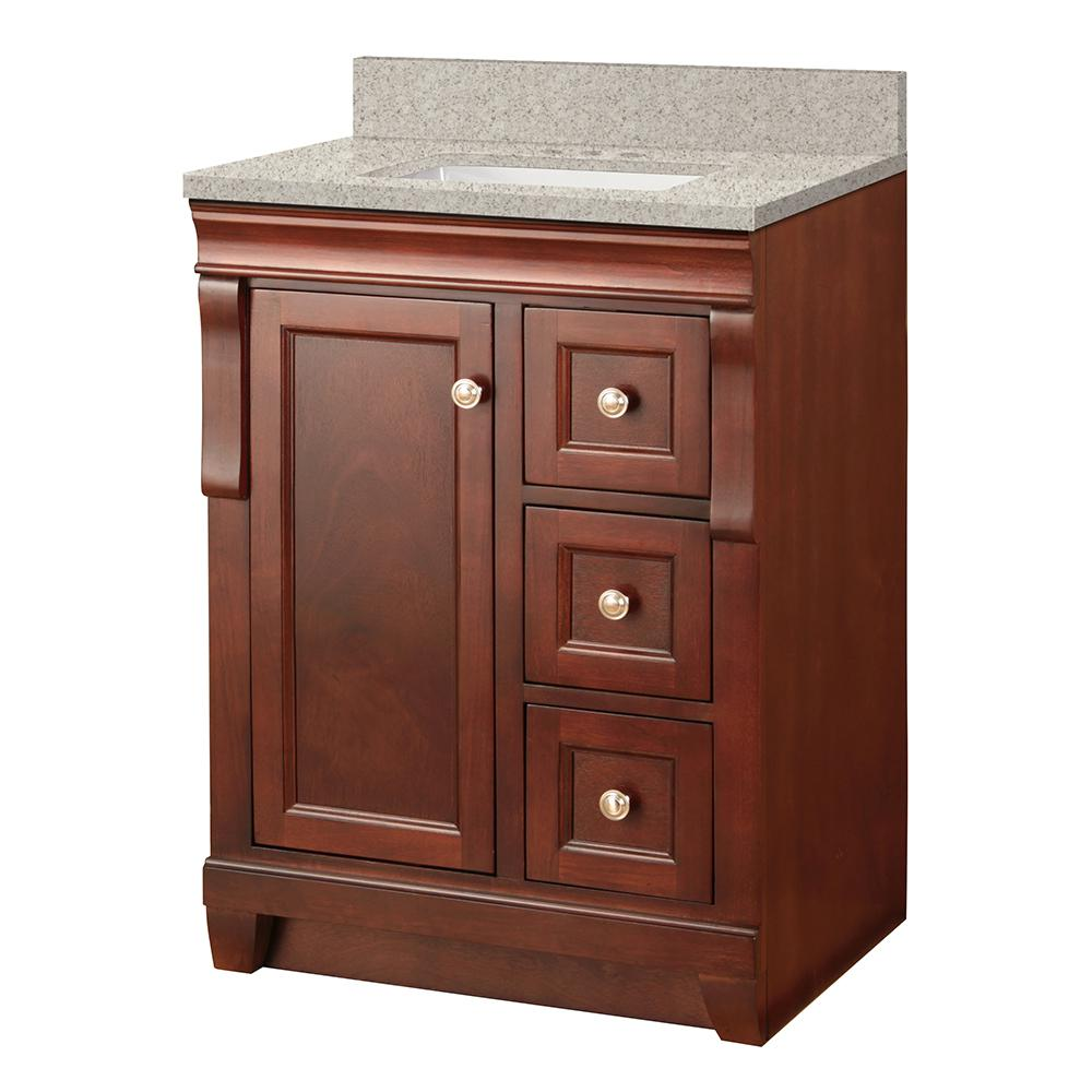 Foremost Naples 24 in. W x 22 in. D Vanity in Tobacco with Engineered Marble Vanity Top in Sedona with White Basin