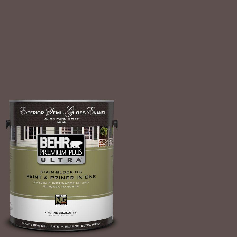BEHR Premium Plus Ultra 1-Gal. #UL130-1 Scented Clove Semi-Gloss Enamel Exterior Paint